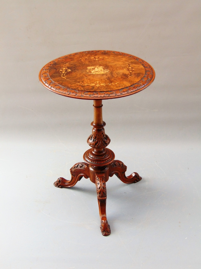 Wonderful quality antique inlaid marquetry burr walnut occasional wine table