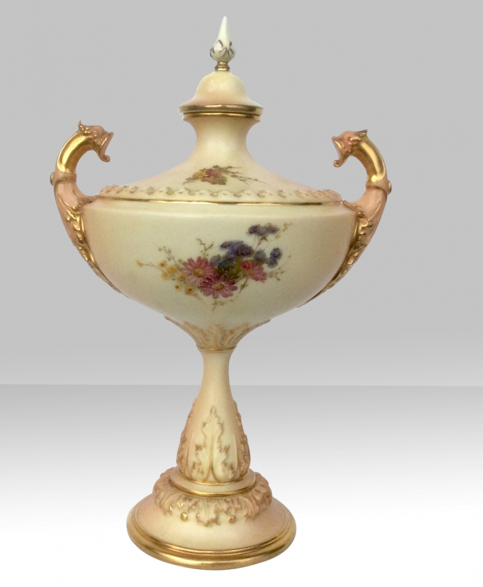 Stunning Hand Painted Antique Blush Ivory Royal Worcester Urn.