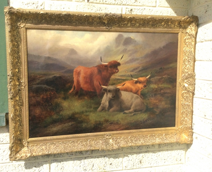Lovely Antique Oil Painting Scottish Scene Highland Cattle John W Morris