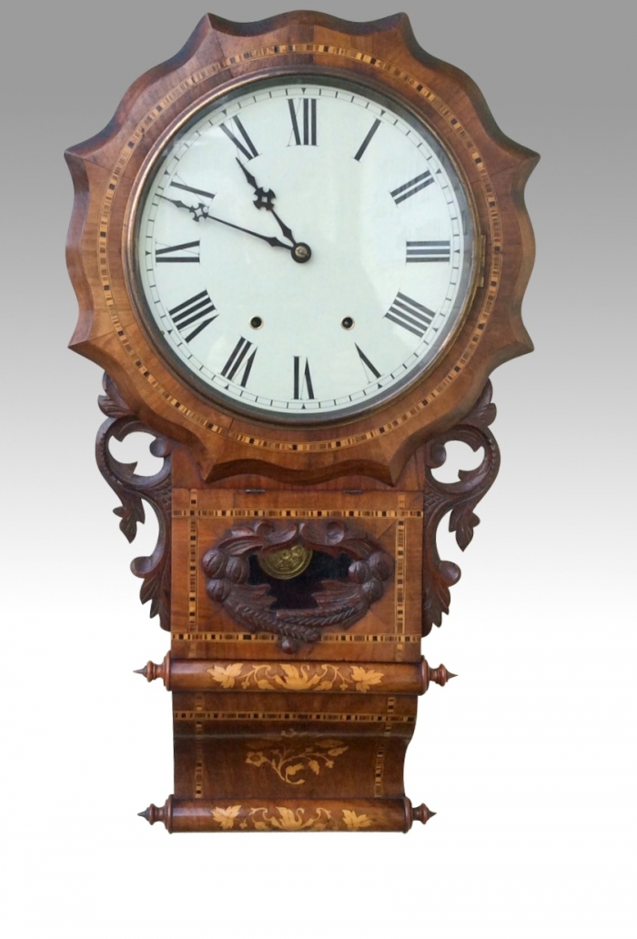 Fine Antique Inlaid Walnut Drop Dial Wall Clock