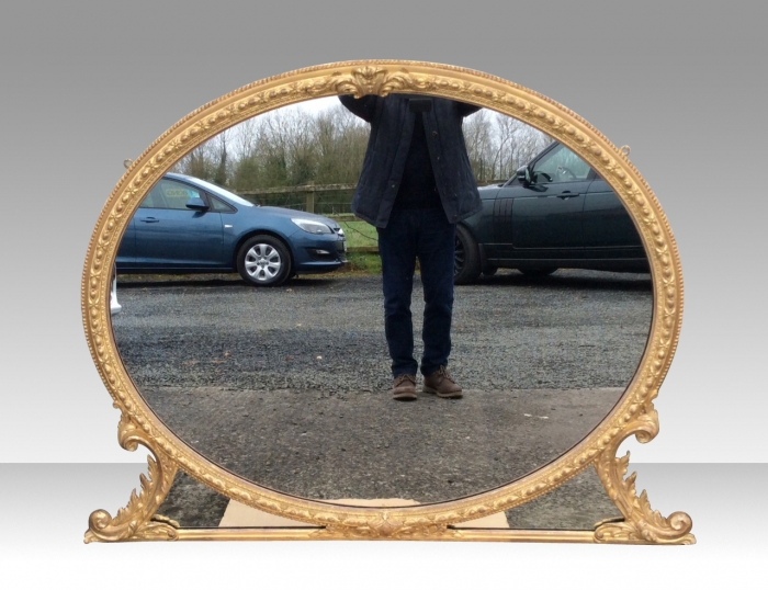 Fabulous Large Gilt Oval Overmantel Mirror