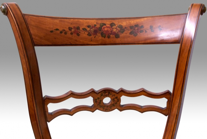 Antique Painted Satinwood Revolving Music Chair