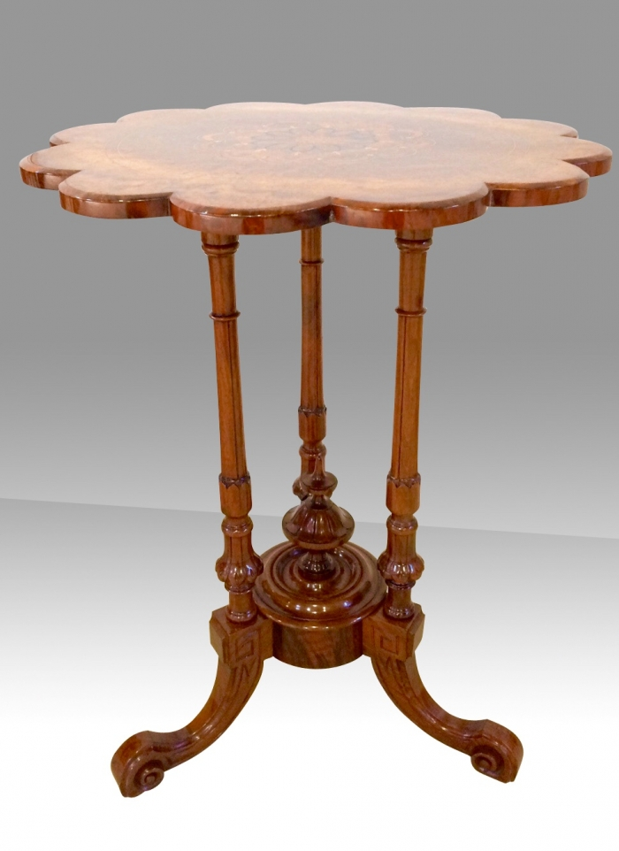 Stunning Victorian Inlaid Burr Walnut Antique Wine Occasional Lamp Table