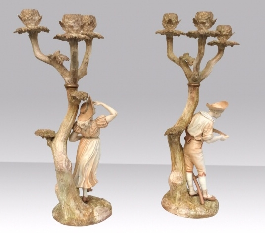 Stunning Pair Of Antique Royal Worcester Candelabra