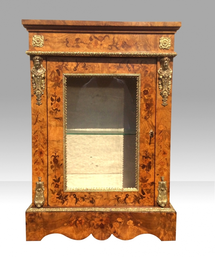 Pair Of Antique Figured Walnut Marquetry Pier Side Display Cabinets