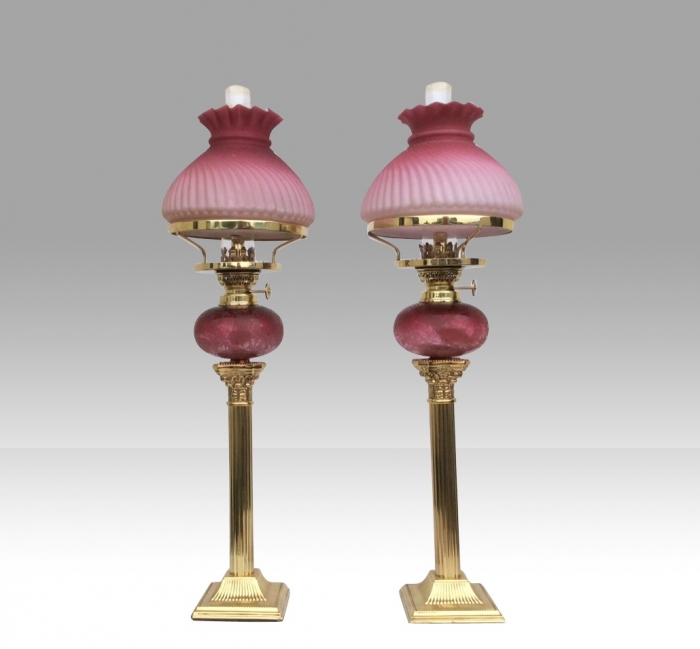Fabulous Matching Pair Of Original Antique Ruby Glass Oil Peg Lamps