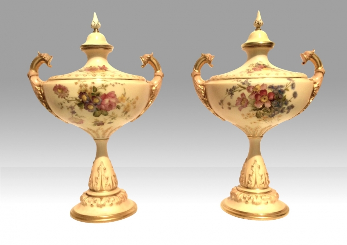Beautiful pair of Antique Royal Worcester Hand Painted Blush Ivory Vases