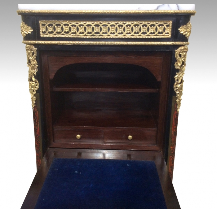 An outstanding Napoleon 111 French boulle Louis XV style ebonised wellington secretaire chest