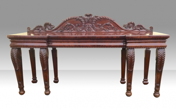 Period Regency Inverted Breakfront Cuban Mahogany Serving Console Hall Table Attributed to Gillows