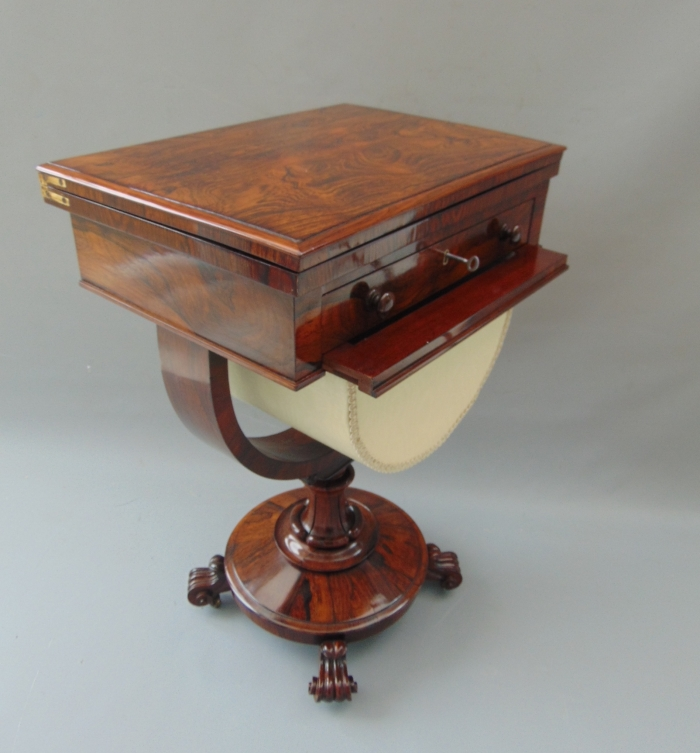 Superb William IV Rosewood Antique Sewing Table With Games ,Lamp Table