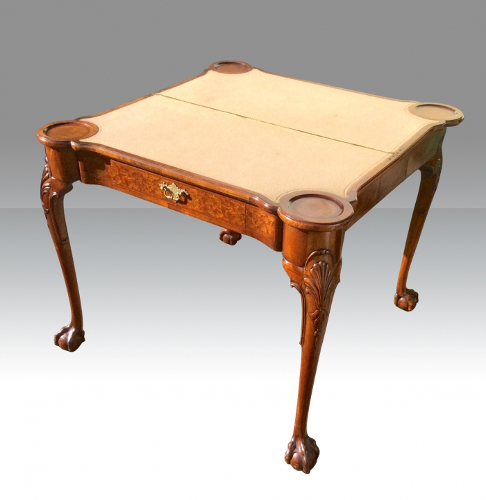 Fabulous Quality Burr Walnut Turn Over Leaf Antique Games Card Table