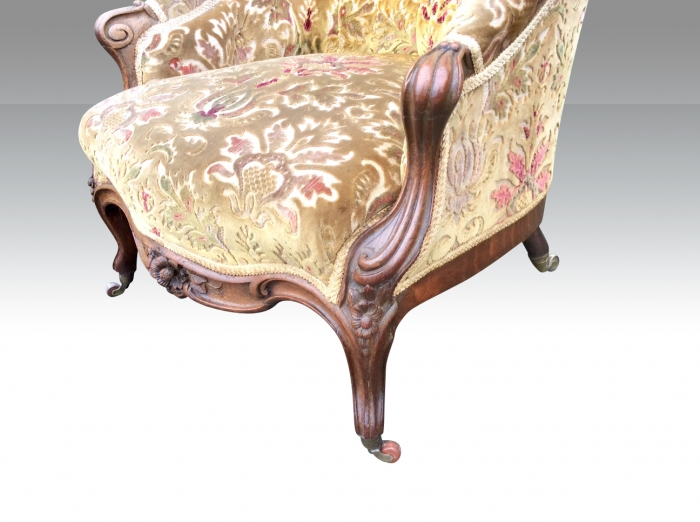 Fabulous Antique Carved Walnut Deep Buttoned Arm Chair.