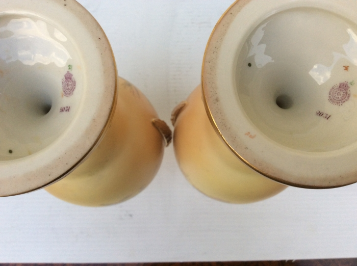 Beautiful Pair Of Hand Painted Blush Ivory Royal Worcester Vases Complete With Original Covers.