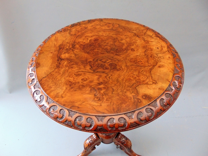 Exceptional Antique Burr Walnut Tea Poy,Lamp Table