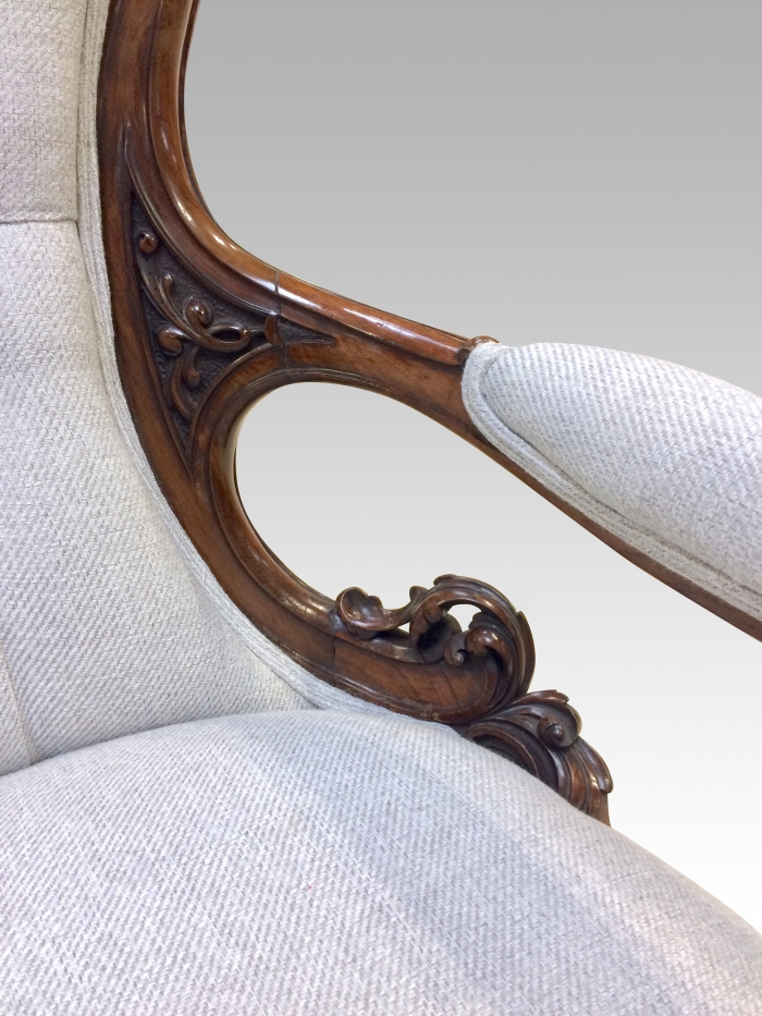 Fabulously carved antique walnut spoon back Cabriole leg Open Arm drawing room armchair