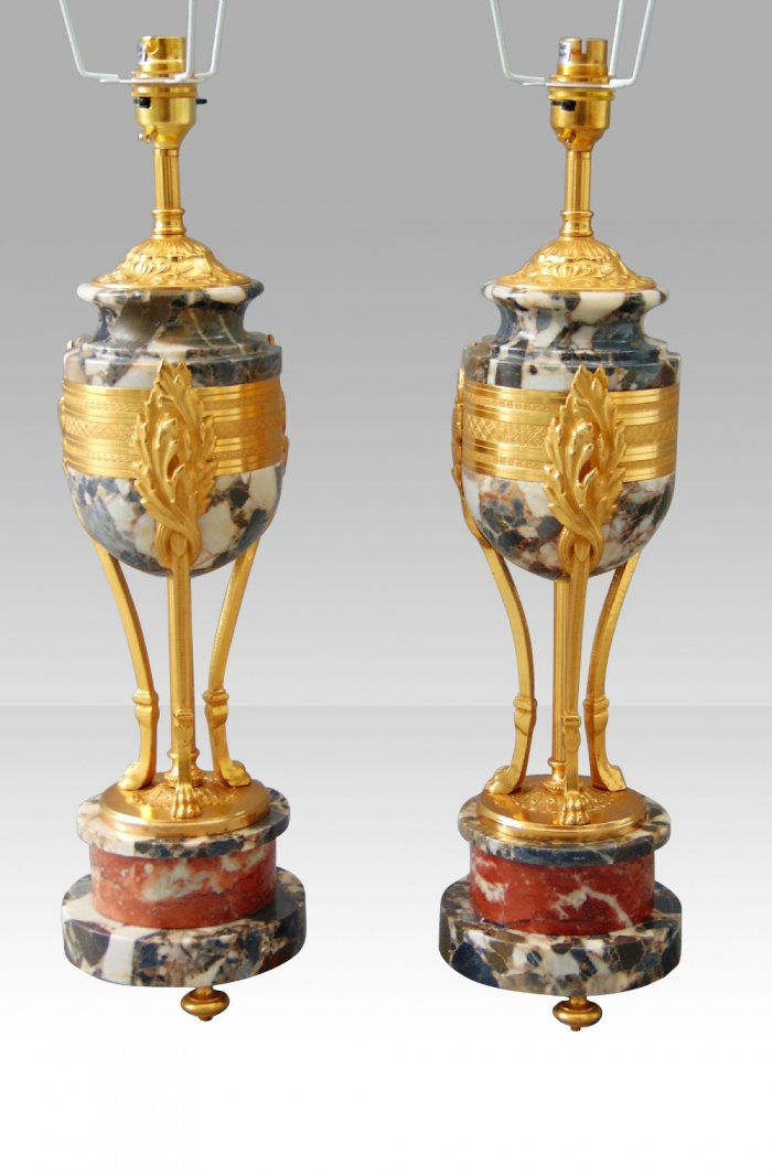 Beautiful  Pair of Marble Table Lamps with Ormolu mounts.