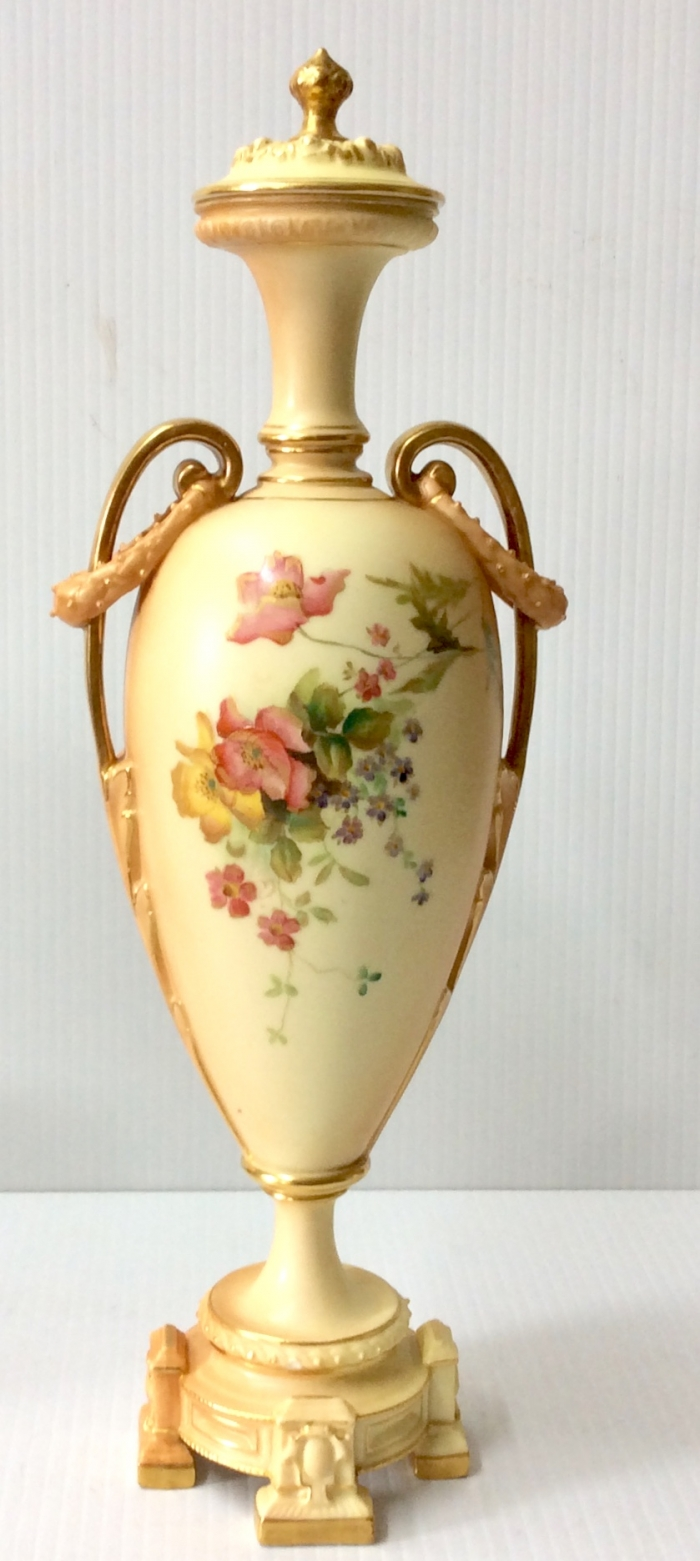 Antique Royal Worcester Vase With Original Cover.