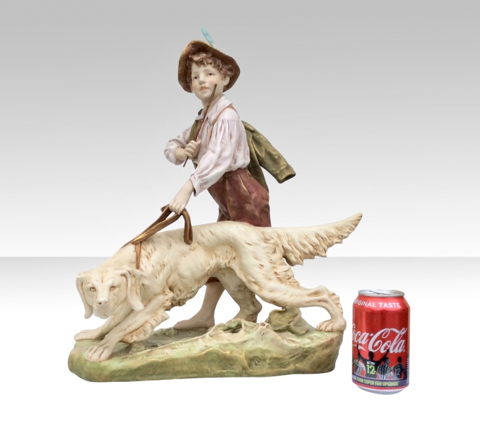 Stunning Royal Dux Figurine Of Boy and Dog