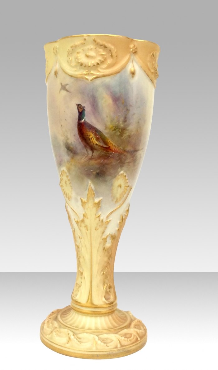 Royal Worcester Goblet James Stinton Vase {Pheasants}