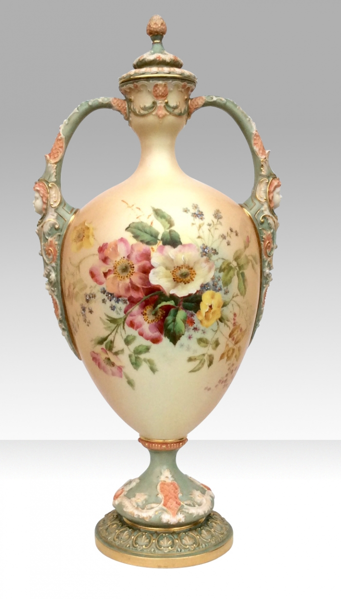 Large Antique Royal Worcester Vase And Cover