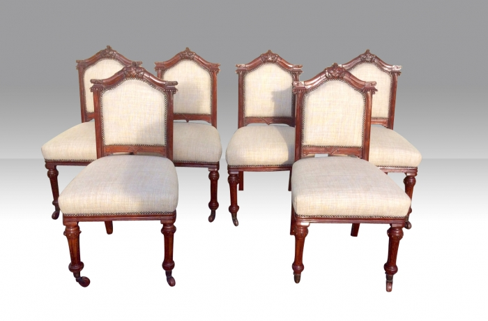 Harlequin set of 12 antique mahogany dining chairs