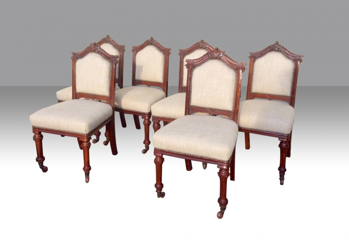 Set of Six Antique Mahogany Upholstered Dining Chairs.