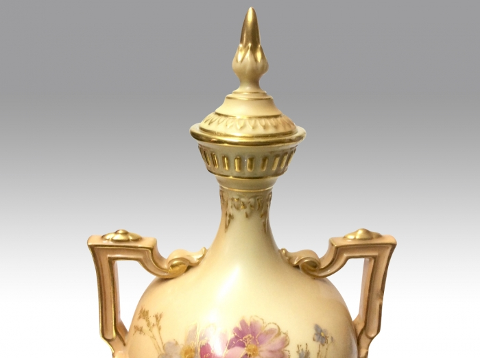 Large Antique Royal Worcester blush ivory urn vase.