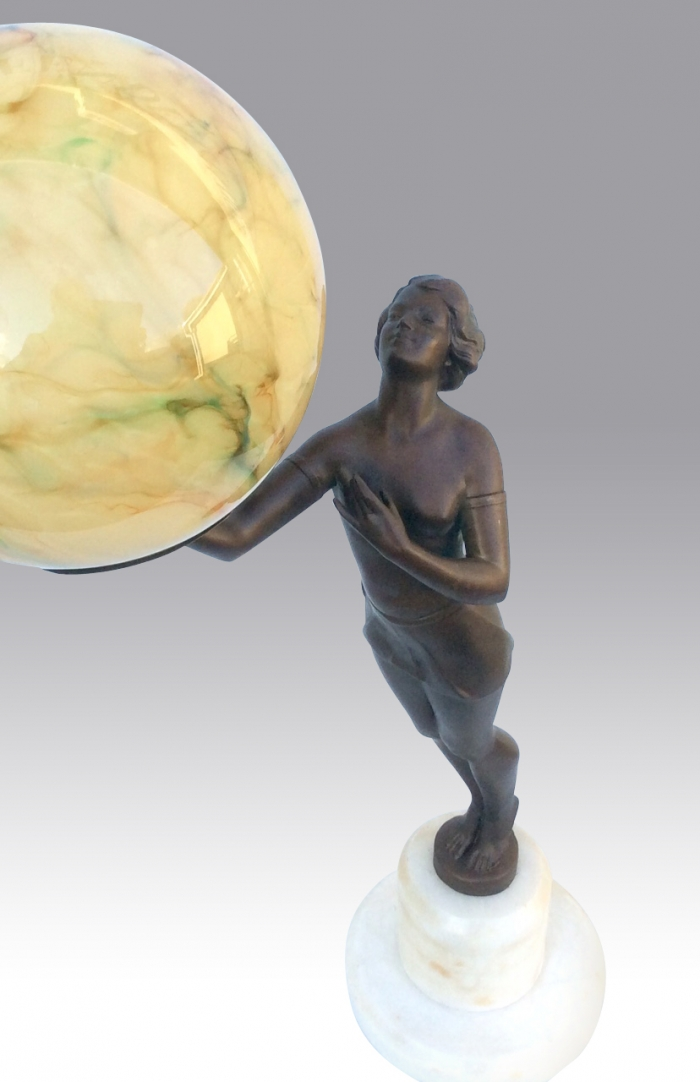 Art Deco Lady Lamp With Marbled Globe