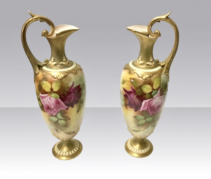 Fabulous Pair a Of  Antique Royal Worcester Rose Painted Ewers,