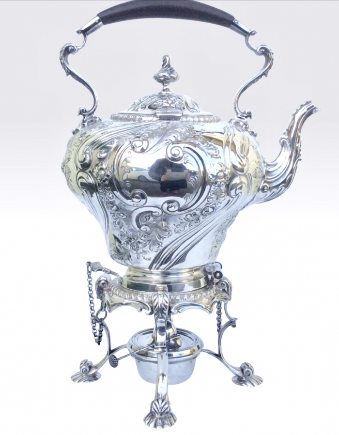 Magnificent Antique Solid Silver Spirit Kettle