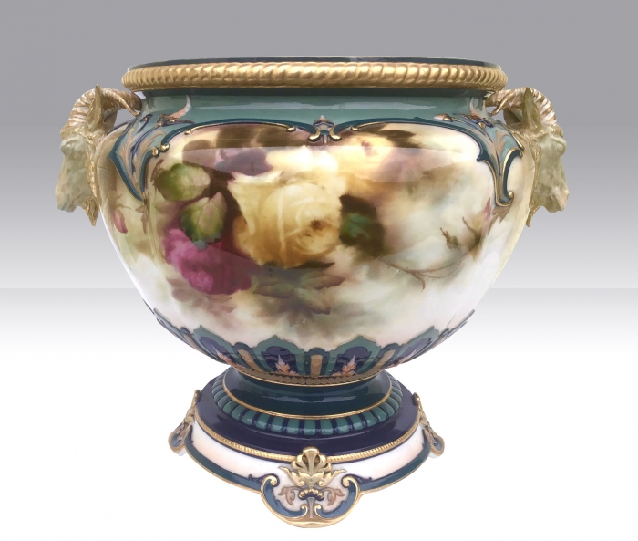Large Antique Royal Worcester Jardiniere,Roses,AC Lewis