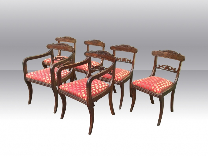Set of Six Antique Regency Period Mahogany Dining Chairs.