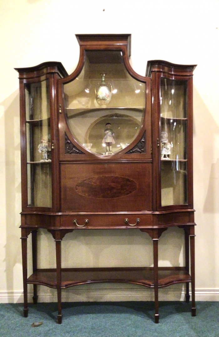 Very fine quality inlaid mahogany ,serpentine side antique  display cabinet incorporating secretaire and secret compartment