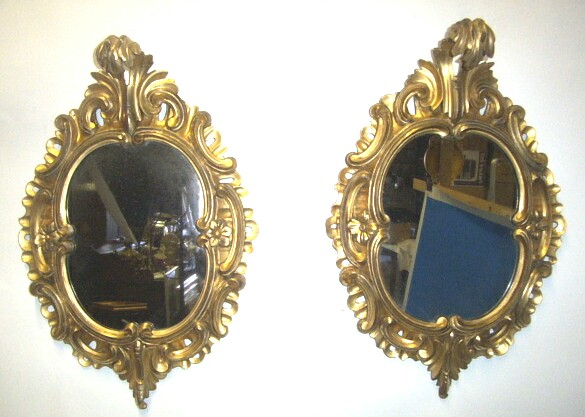 Lovely Pair Of Early Victorian Gilt Rococo style Antique Mirrors