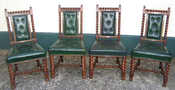 Quality set of four antique walnut chairs