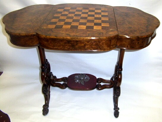 Unusual Victorian Burr Walnut Antique Games Table and Desk