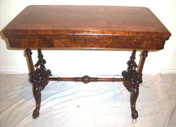 Beautiful  Victorian Inlaid Burr Walnut Turn Over Leaf Antique Games Table