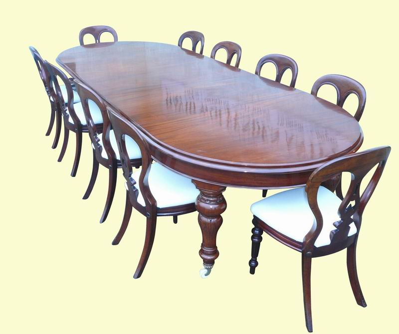 A Quality Antique Mahogany 3 Leaf Dining Table C1860 124ins X 49ins X 30ins With A Super Set Of 10 Mahogany Antique Dining Chairs C1860