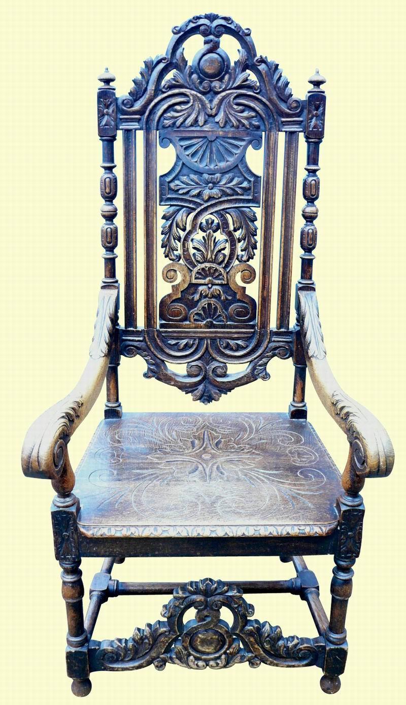 Large Carved Oak Chair