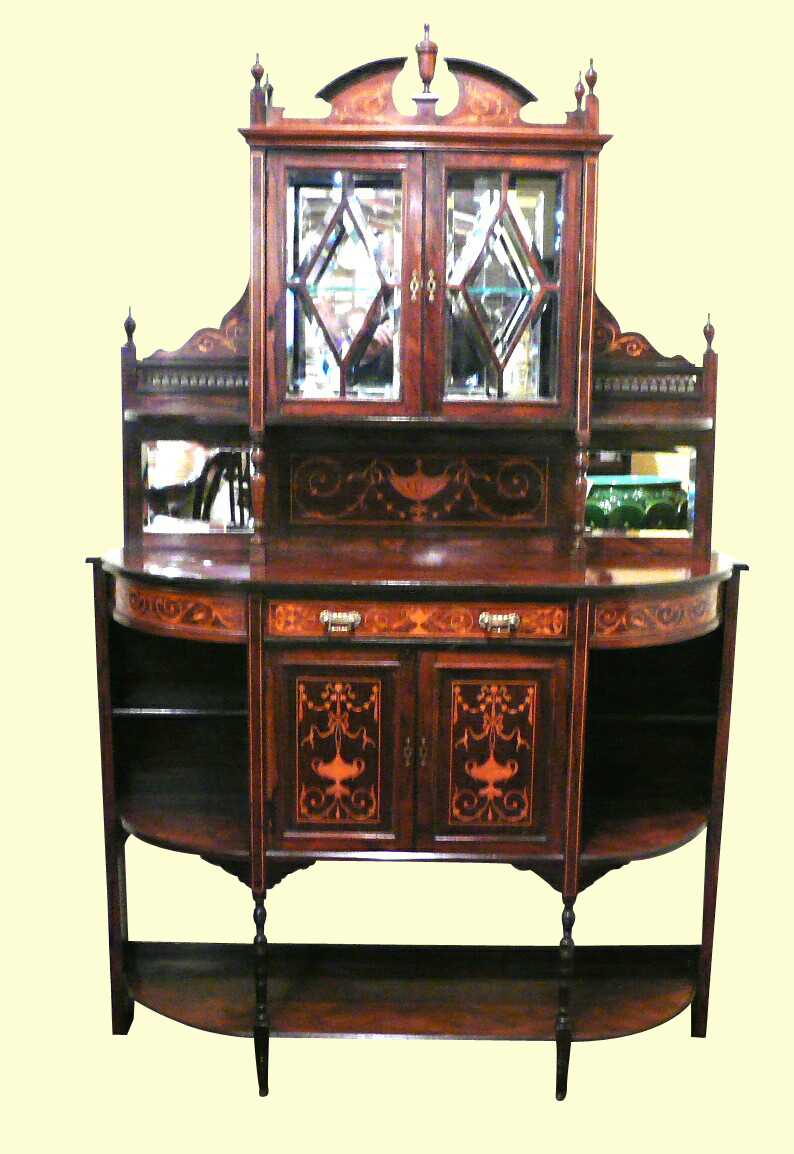Fine Inlaid Marquetry Rosewood Antique  Chiffioneer