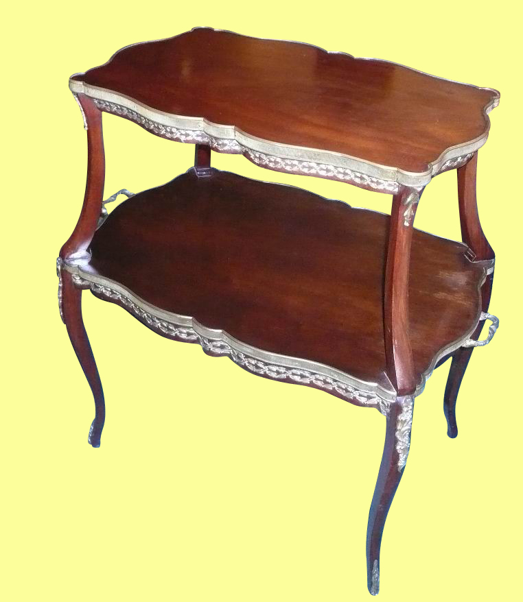 Fine Ormolu Mounted Mahogany Two Tiered Antique Etargere Table