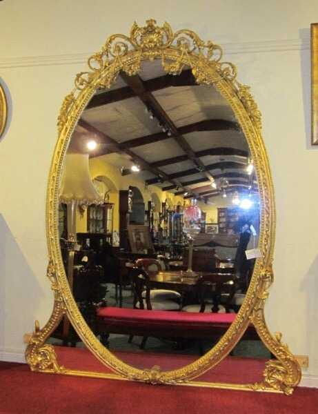 Large Gilt 19th Century Antique Overmantel Mirror