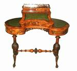 Magnificent Victorian Burr Walnut Kidney Shaped Antique Desk - Click to Enlarge