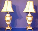 Quality Pair Of Ormolu Mounted Marble Antique Table Lamps - Click to Enlarge