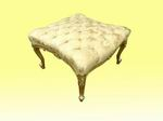 Beautiful Deep Buttoned Re Upholstered   Large Antique Gilt Stool - Click to Enlarge