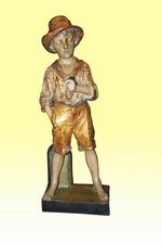 Fabulous Antique Goldscheider Figure of Bare Footed Boy - Click to Enlarge