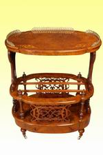 Magnificent Inlaid Burr Walnut Oval Antique Canterbury Table - Click to Enlarge