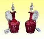 Superb Pair of Antique Ruby Glass Decanters with Original Stoppers - Click to Enlarge