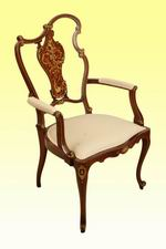 A Superb Inlaid Mahogany Arm Chair  - Click to Enlarge
