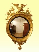 Superb Regency Gilt Convex Antique Butlers Mirror - Click to Enlarge